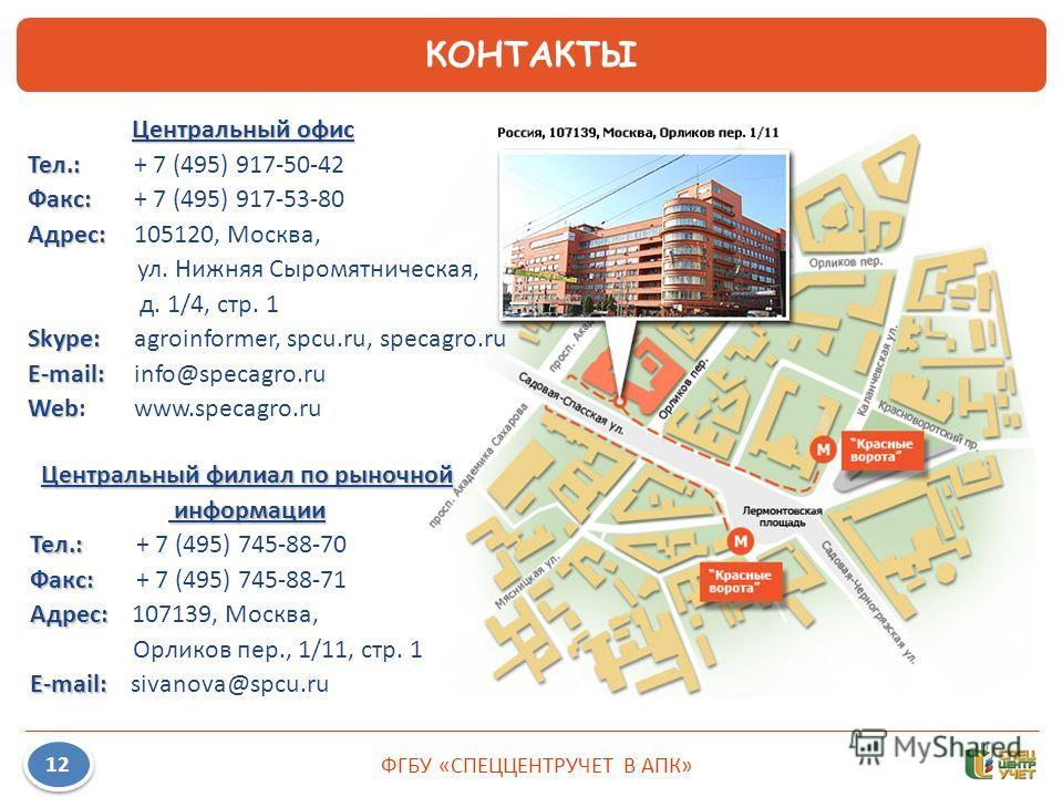 ФГБУ «СПЕЦЦЕНТРУЧЕТ В АПК» 12 КОНТАКТЫ Центральный филиал по рыночной информации информации Тел.: Тел.: + 7 (495) 745-88-70 Факс: Факс: + 7 (495) 745-88-71 Адрес: Адрес: 107139, Москва, Орликов пер., 1/11, стр. 1 E-mail: E-mail: sivanova@spcu.ru Цент