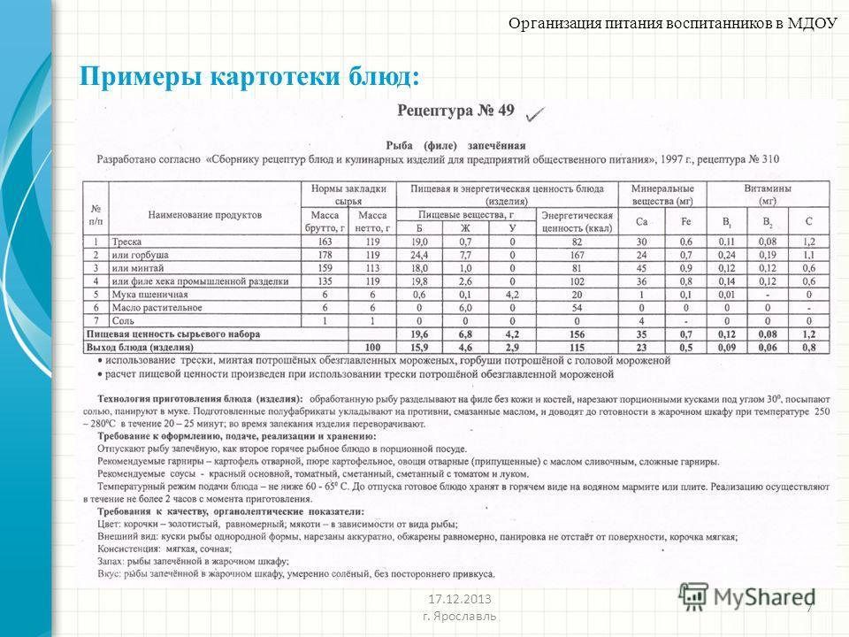 Примеры картотеки блюд: 7 Организация питания воспитанников в МДОУ 17.12.2013 г. Ярославль