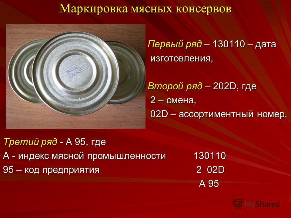 Маркировка мясных консервов Первый ряд – 130110 – дата Первый ряд – 130110 – дата изготовления, изготовления, Второй ряд – 202D, где Второй ряд – 202D, где 2 – смена, 2 – смена, 02D – ассортиментный номер, 02D – ассортиментный номер, Третий ряд - А 9