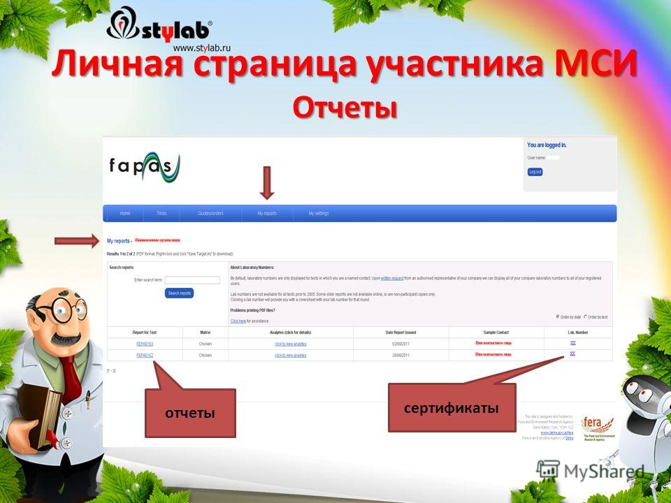 Личная страница участника МСИ Отчеты отчеты сертификаты