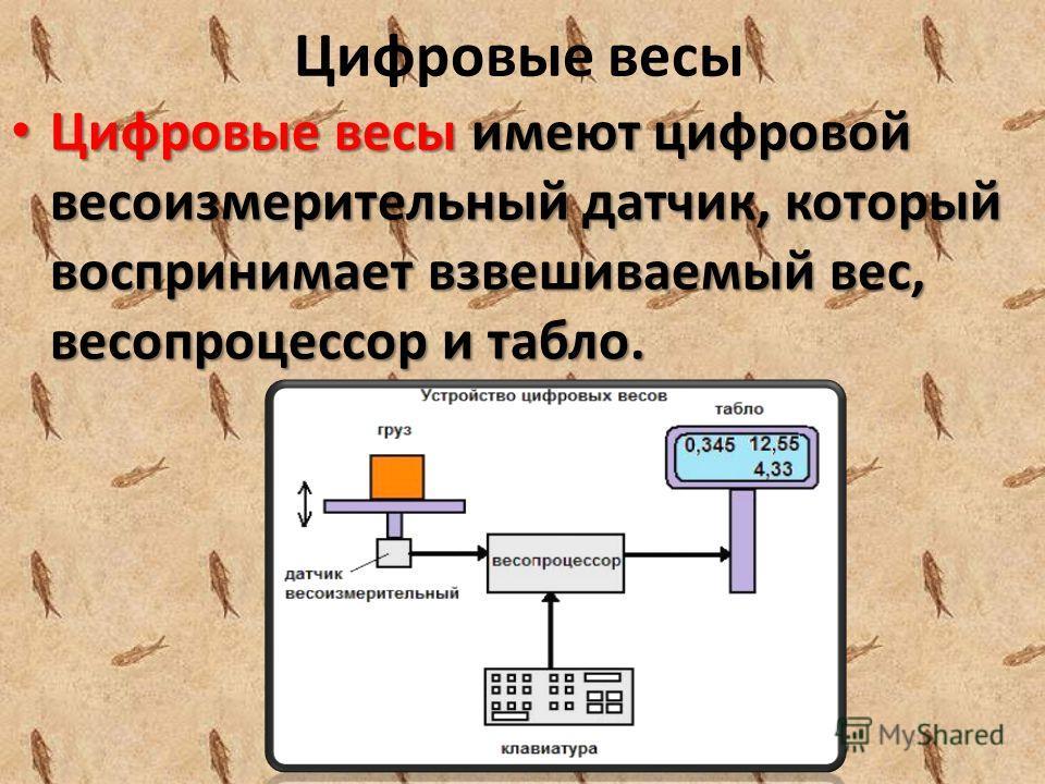 Цифровые весы Цифровые весы имеют цифровой весоизмерительный датчик, который воспринимает взвешиваемый вес, весопроцессор и табло. Цифровые весы имеют цифровой весоизмерительный датчик, который воспринимает взвешиваемый вес, весопроцессор и табло.