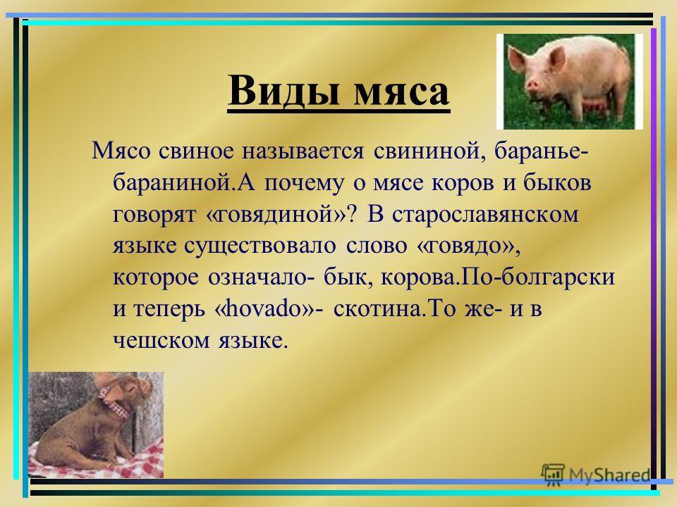Виды мяса Мясо свиное называется свининой, баранье- бараниной.А почему о мясе коров и быков говорят «говядиной»? В старославянском языке существовало слово «говядо», которое означало- бык, корова.По-болгарски и теперь «hovado»- скотина.То же- и в чеш