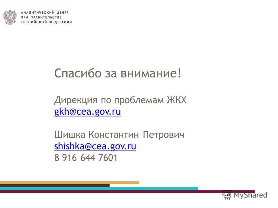 Спасибо за внимание! Дирекция по проблемам ЖКХ gkh@cea.gov.ru Шишка Константин Петрович shishka@cea.gov.ru 8 916 644 7601 gkh@cea.gov.ru shishka@cea.gov.ru
