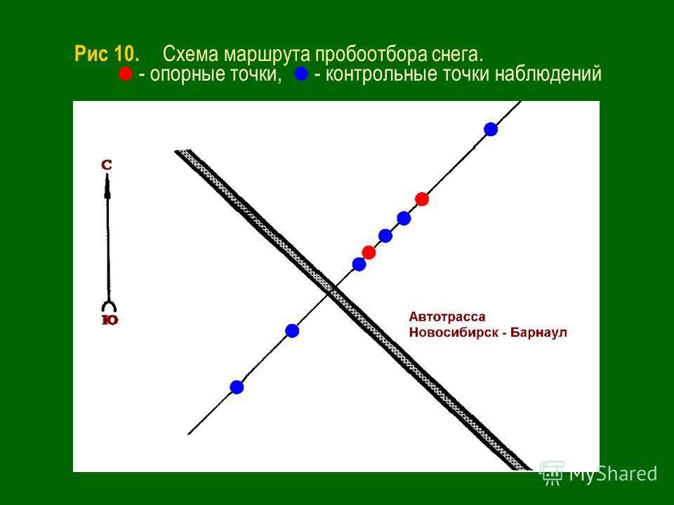 Рис 10. Схема маршрута пробоотбора снега. - опорные точки, - контрольные точки наблюдений