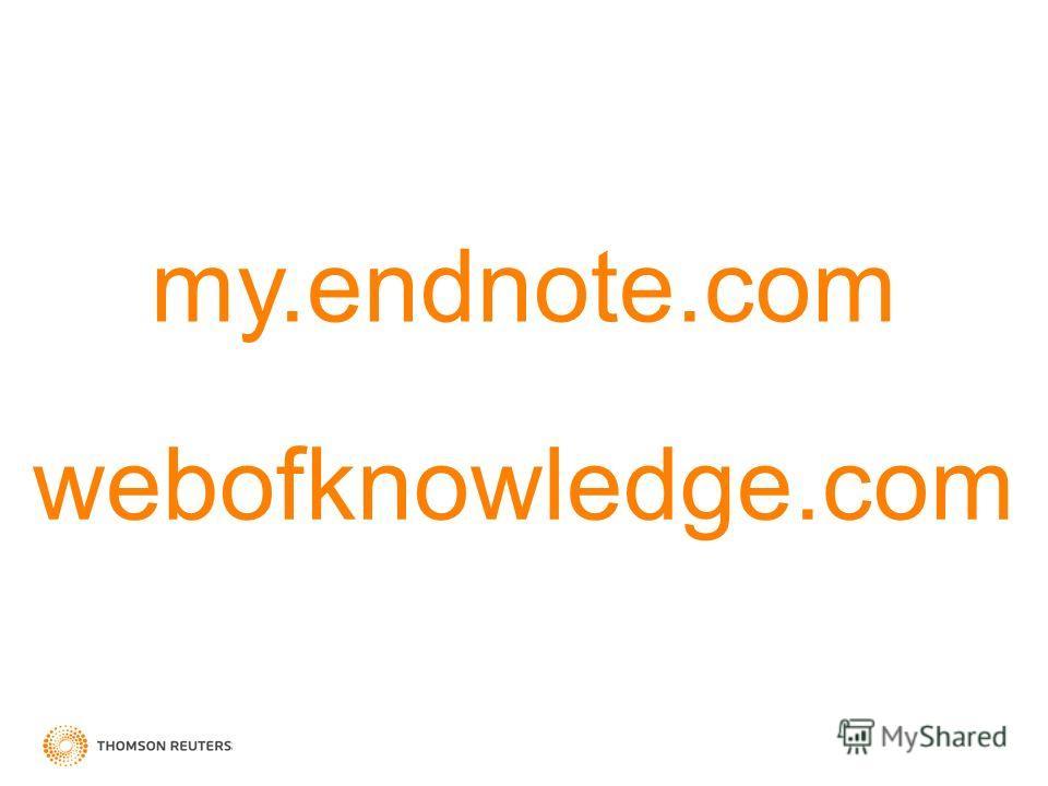 my.endnote.com webofknowledge.com