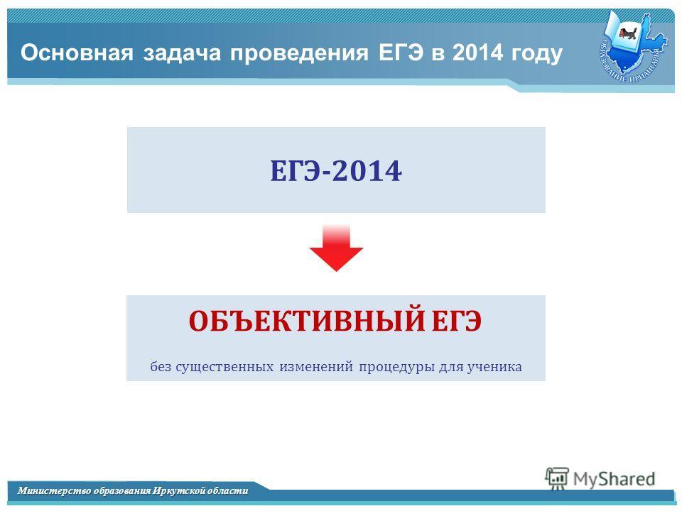 Министерство образования Иркутской области Основная задача проведения ЕГЭ в 2014 году ЕГЭ-2014 ОБЪЕКТИВНЫЙ ЕГЭ без существенных изменений процедуры для ученика