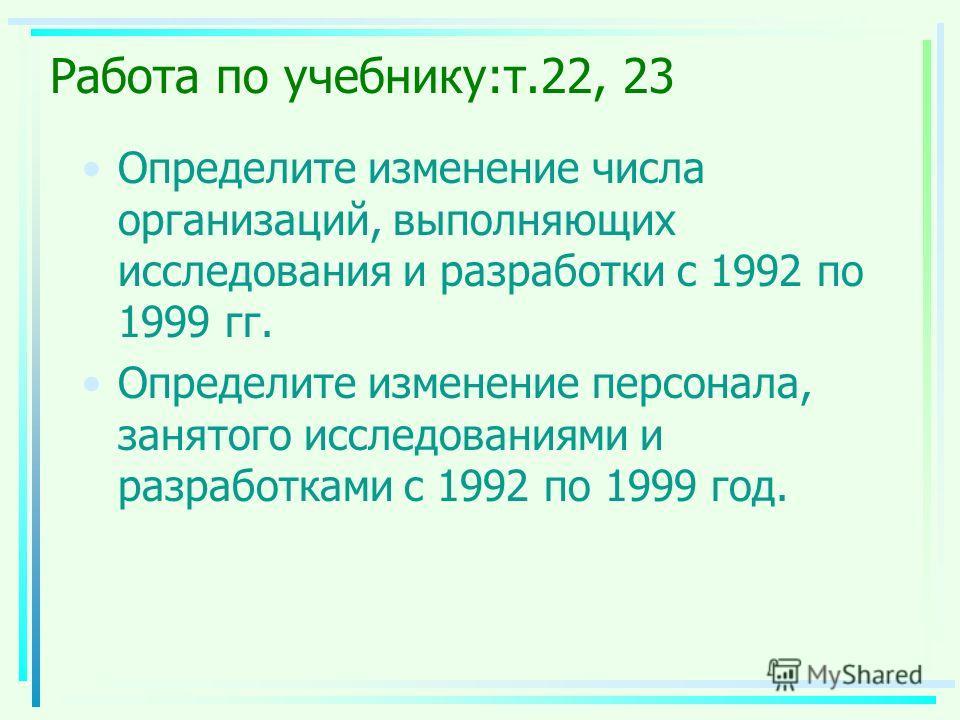 Работа по учебнику:т.22, 23 Определите изменение числа организаций, выполняющих исследования и разработки с 1992 по 1999 гг. Определите изменение персонала, занятого исследованиями и разработками с 1992 по 1999 год.