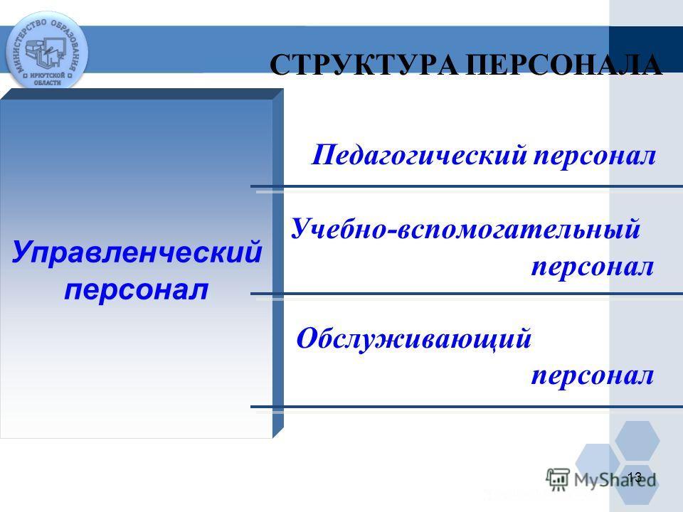 СТРУКТУРА ПЕРСОНАЛА Педагогический персонал Учебно-вспомогательный персонал Обслуживающий персонал Управленческий персонал 13