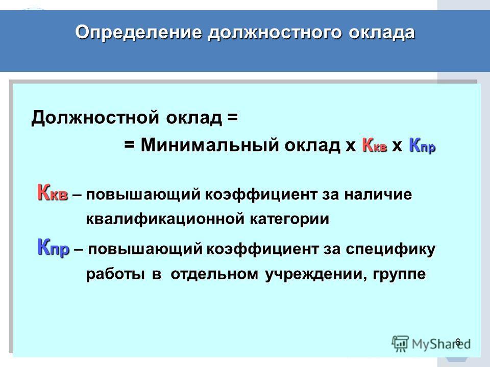 Определение должностного оклада Должностной оклад = Должностной оклад = = Минимальный оклад х К кв х К пр = Минимальный оклад х К кв х К пр К кв – повышающий коэффициент за наличие К кв – повышающий коэффициент за наличие квалификационной категории к