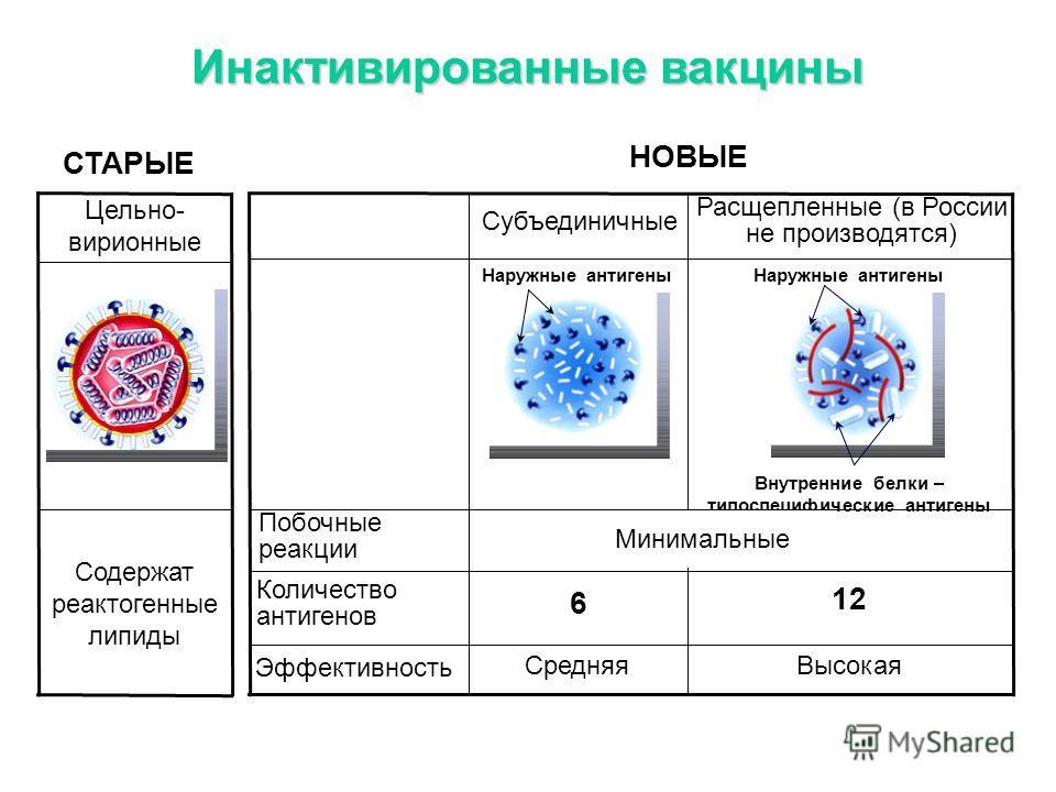 Инактивированные вакцины Эффективность Количество антигенов Побочные реакции Высокая Средняя 12 6 Наружные антигены Внутренние белки – типоспецифические антигены Наружные антигены Расщепленные (в России не производятся) Субъединичные СТАРЫЕ НОВЫЕ Сод
