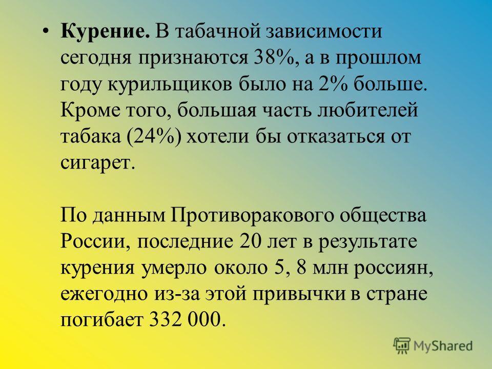 Курение. В табачной зависимости сегодня признаются 38%, а в прошлом году курильщиков было на 2% больше. Кроме того, большая часть любителей табака (24%) хотели бы отказаться от сигарет. По данным Противоракового общества России, последние 20 лет в ре