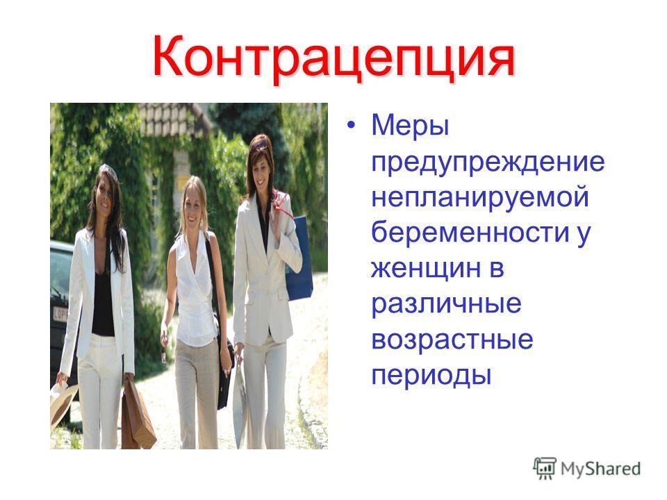 Контрацепция Меры предупреждение непланируемой беременности у женщин в различные возрастные периоды