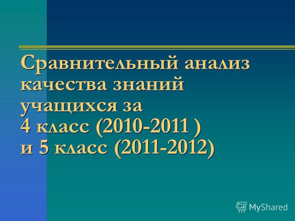 Сравнительный анализ качества знаний учащихся за 4 класс (2010-2011 ) и 5 класс (2011-2012)