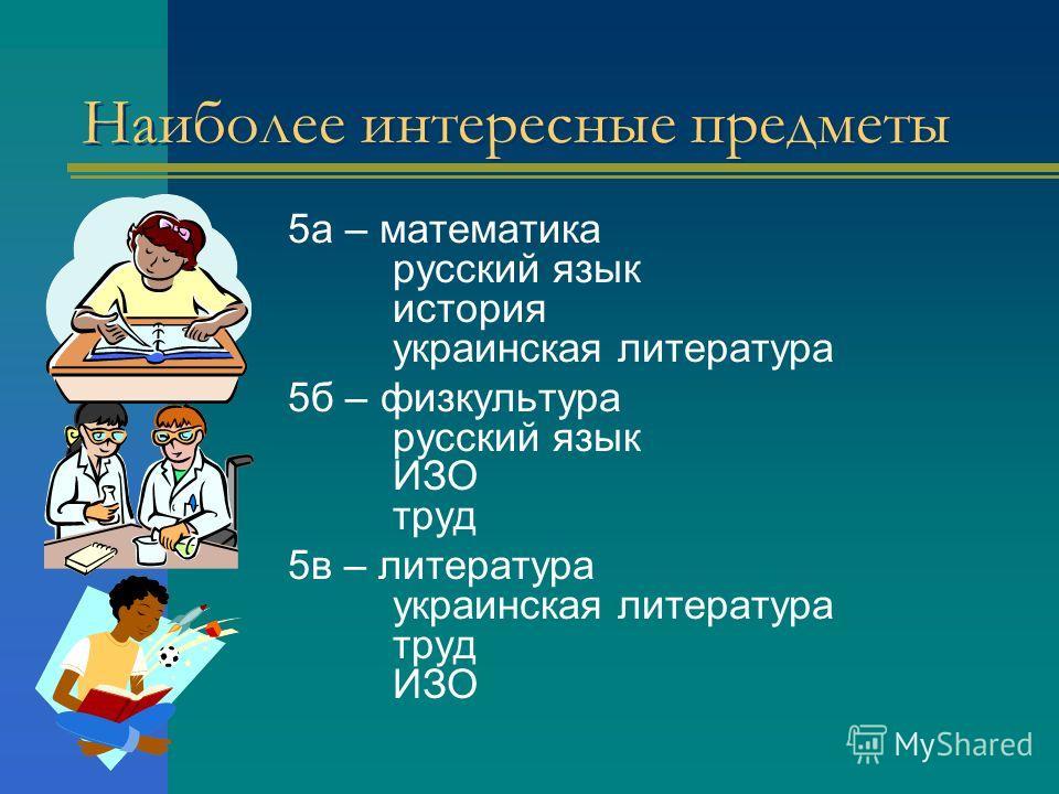 Наиболее интересные предметы 5 а – математика русский язык история украинская литература 5 б – физкультура русский язык ИЗО труд 5 в – литература украинская литература труд ИЗО