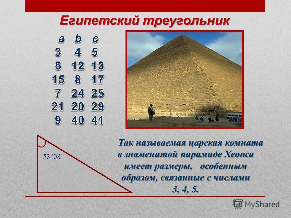 Так называемая царская комната в знаменитой пирамиде Хеопса имеет размеры, особенным образом, связанные с числами 3, 4, 5. Египетский ттреугольник 53°08´
