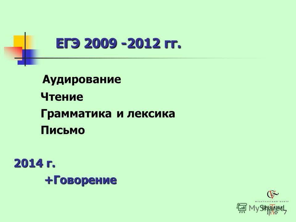 7 ЕГЭ 2009 -2012 гг. Аудирование Чтение Грамматика и лексика Письмо 2014 г. +Говорение +Говорение