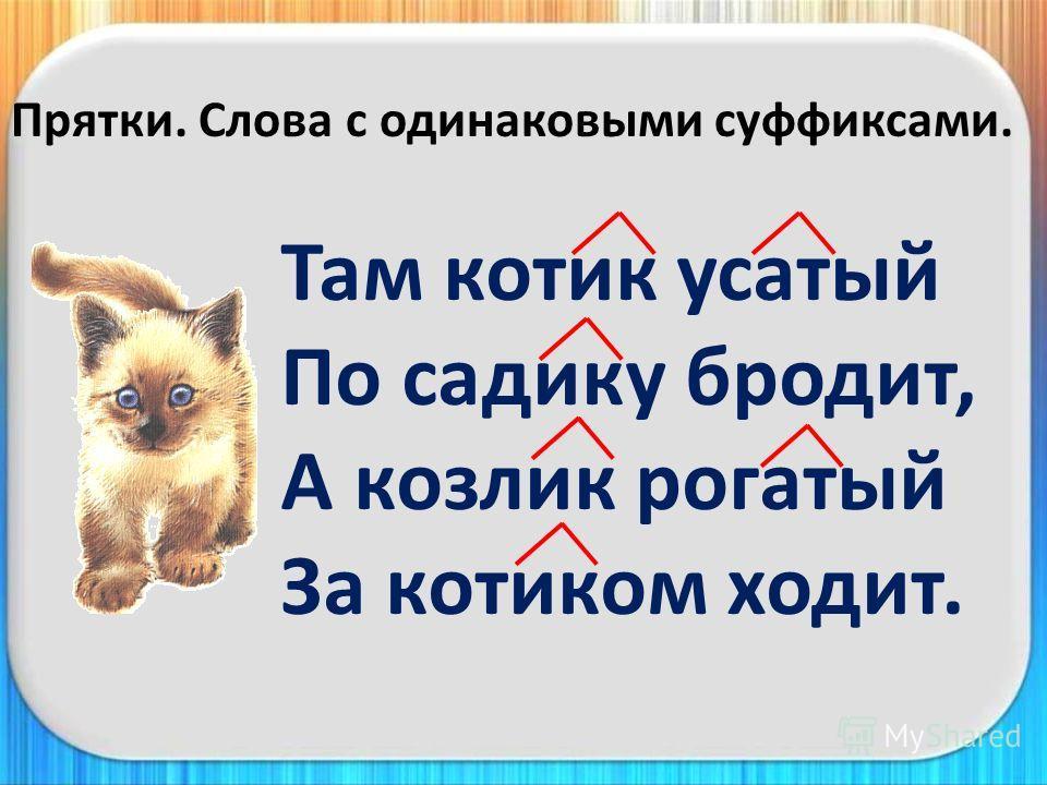 Прятки. Слова с одинаковыми суффиксами. Там котик усатый По садику бродит, А козлик рогатый За котиком ходит.