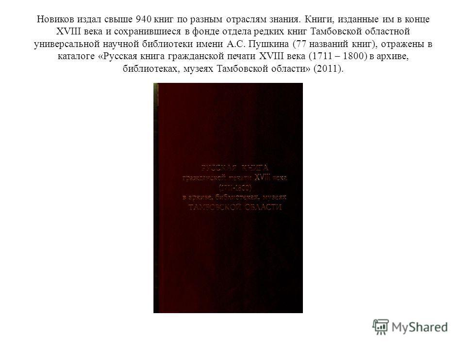 Новиков издал свыше 940 книг по разным отраслям знания. Книги, изданные им в конце XVIII века и сохранившиеся в фонде отдела редких книг Тамбовской областной универсальной научной библиотеки имени А.С. Пушкина (77 названий книг), отражены в каталоге