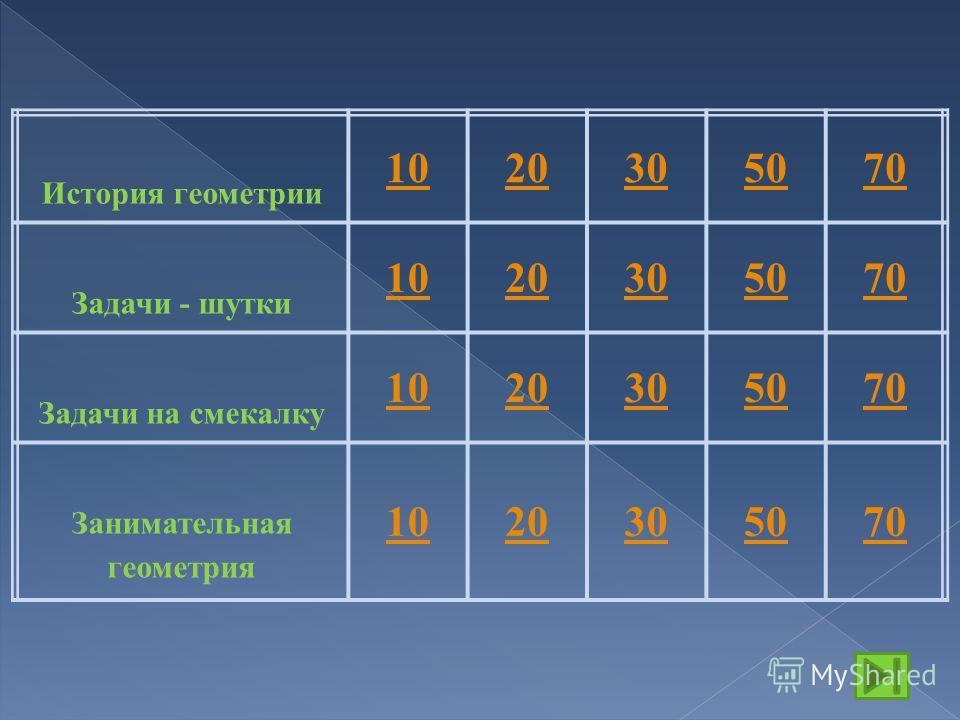 История геометрии 1020305070 Задачи - шутки 1020305070 Задачи на смекалку 1020305070 Занимательная геометрия 1020305070