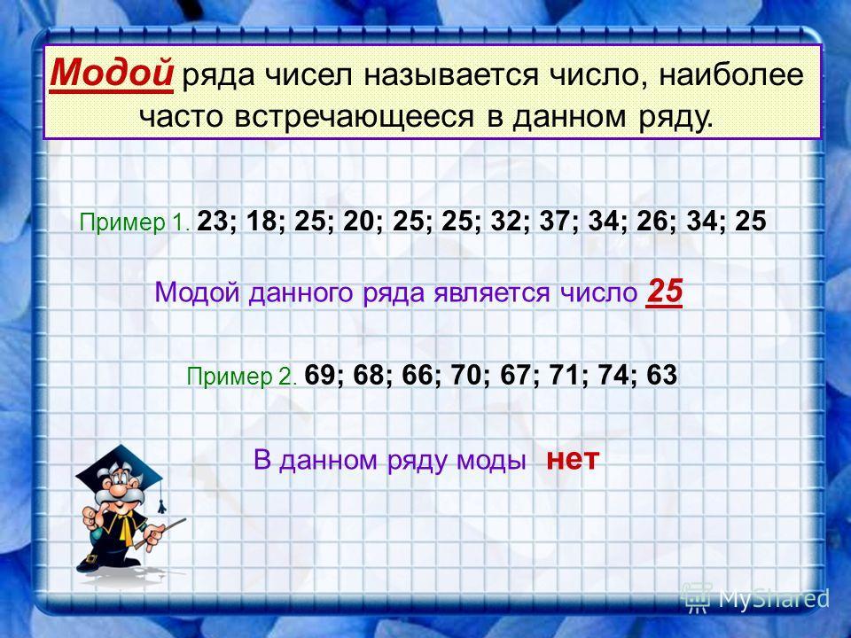 Средним арифметическим нескольких чисел называется число, равное отношению суммы этих чисел к их количеству Са = количество чисел сумма чисел Пример 1. Найдите среднее арифметическое чисел 23; 18; 25; 20; 25; 25; 32; 37; 34; 26; 34; 25. Са =(23+18+25
