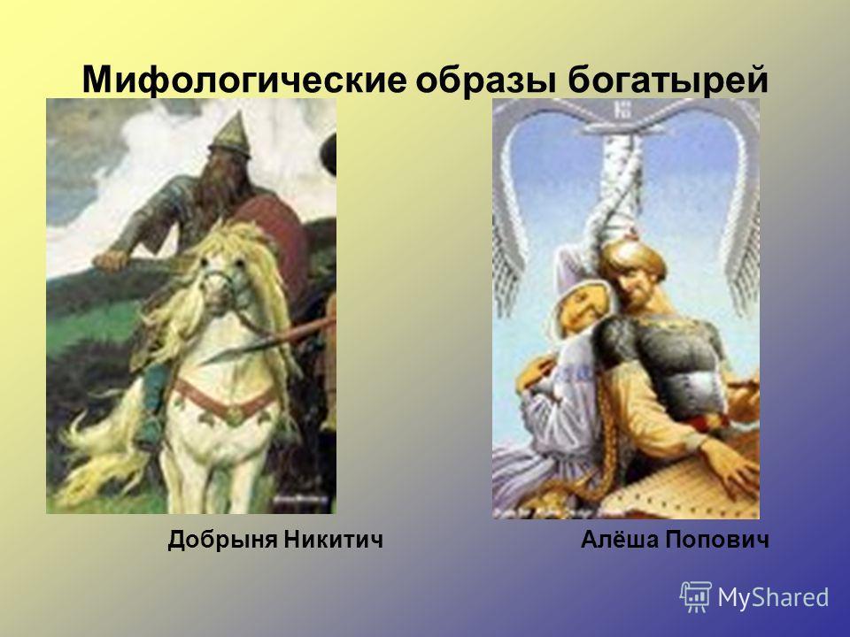 Мифологические образы богатырей Добрыня Никитич Алёша Попович