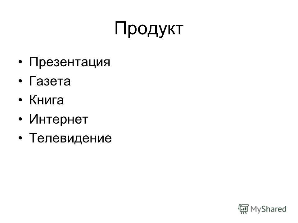 Продукт Презентация Газета Книга Интернет Телевидение