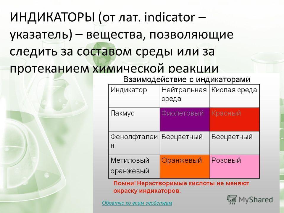 ИНДИКАТОРЫ (от лат. indicator – указатель) – вещества, позволяющие следить за составом среды или за протеканием химической реакции