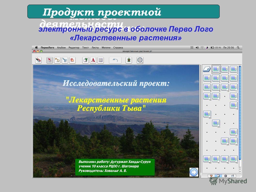 Методы исследования: Продукт проектной деятельности электронный ресурс в оболочке Перво Лого «Лекарственные растения» Практическое значение