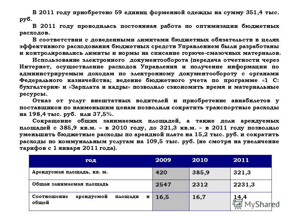 В 2011 году приобретено 59 единиц форменной одежды на сумму 351,4 тыс. руб. В 2011 году проводилась постоянная работа по оптимизации бюджетных расходов. В соответствии с доведенными лимитами бюджетных обязательств в целях эффективного расходования бю