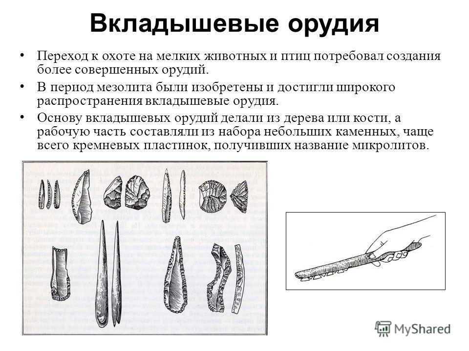Вкладышевые орудия Переход к охоте на мелких животных и птиц потребовал создания более совершенных орудий. В период мезолита были изобретены и достигли широкого распространения вкладышевые орудия. Основу вкладышевых орудий делали из дерева или кости,