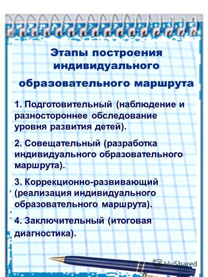 Этапы построения индивидуального образовательного маршрута 1. Подготовительный (наблюдение и разностороннее обследование уровня развития детей). 2. Совещательный (разработка индивидуального образовательного маршрута). 3. Коррекционно-развивающий (реа