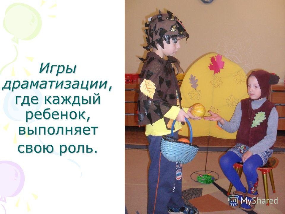 Игры драматизации, где каждый ребенок, выполняет свою роль.