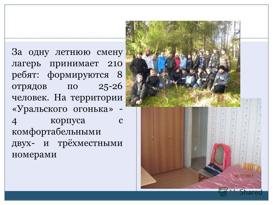 За одну летнюю смену лагерь принимает 210 ребят: формируются 8 отрядов по 25-26 человек. На территории «Уральского огонька» - 4 корпуса с комфортабельными двух- и трёхместными номерами