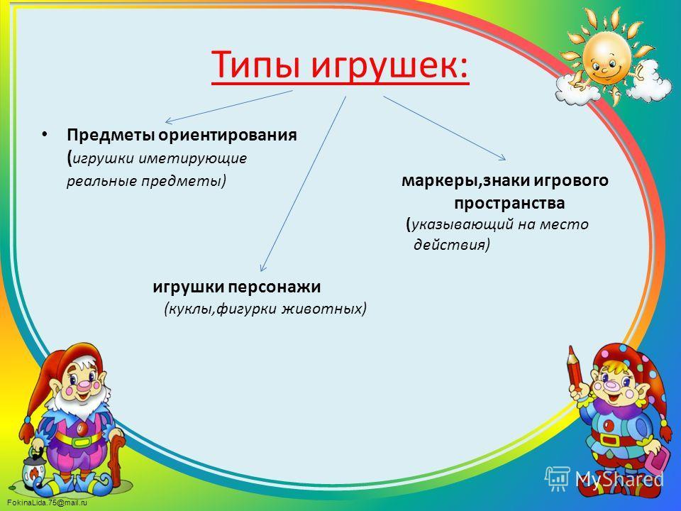FokinaLida.75@mail.ru Типы игрушек: Предметы ориентирования ( игрушки имитирующие реальные предметы) маркеры,знаки игрового пространства (указывающий на место действия) игрушки персонажи (куклы,фигурки животных)