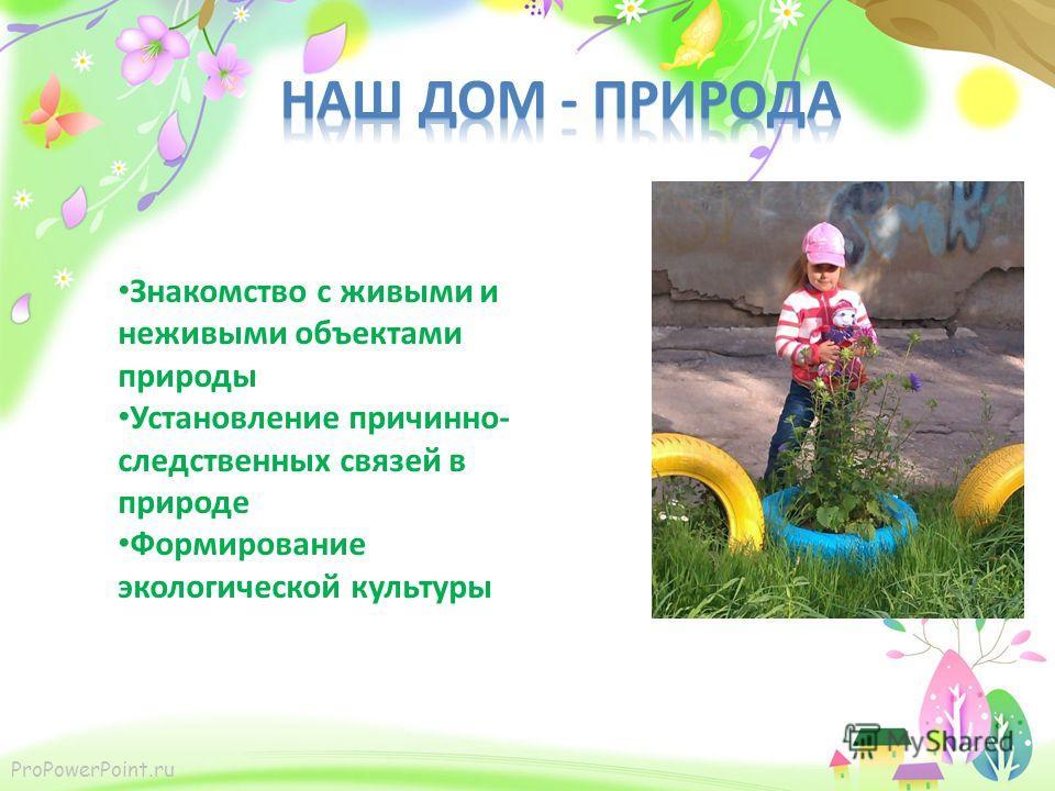 ProPowerPoint.ru Знакомство с живыми и неживыми объектами природы Установление причинно- следственных связей в природе Формирование экологической культуры