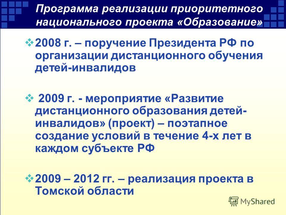 Программа реализации приоритетного национального проекта «Образование» 2008 г. – поручение Президента РФ по организации дистанционного обучения детей-инвалидов 2009 г. - мероприятие «Развитие дистанционного образования детей- инвалидов» (проект) – по