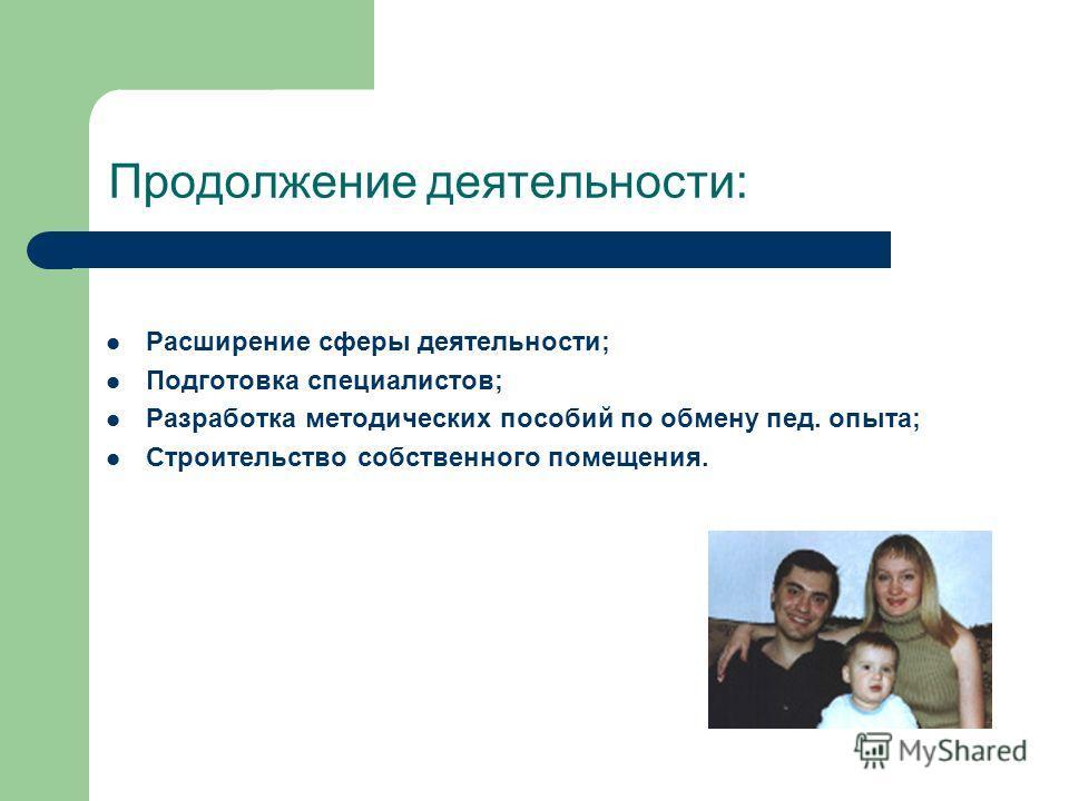 Продолжение деятельности: Расширение сферы деятельности; Подготовка специалистов; Разработка методических пособий по обмену пед. опыта; Строительство собственного помещения.