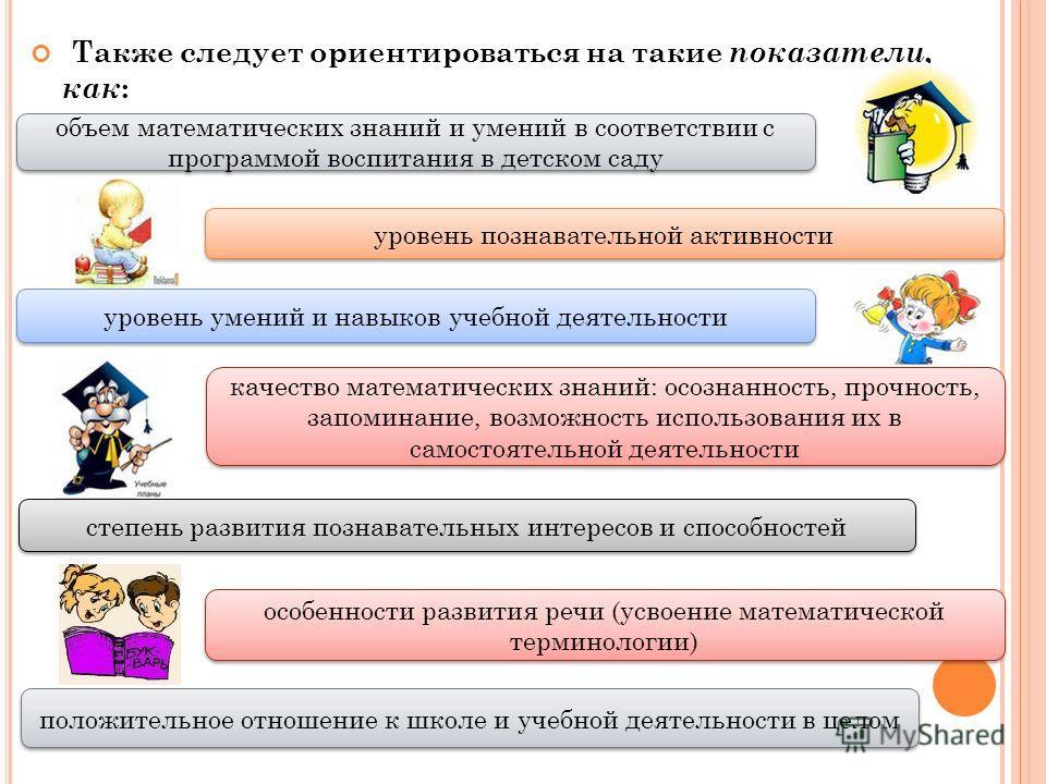 Также следует ориентироваться на такие показатели, как : объем математических знаний и умений в соответствии с программой воспитания в детском саду качество математических знаний: осознанность, прочность, запоминание, возможность использования их в