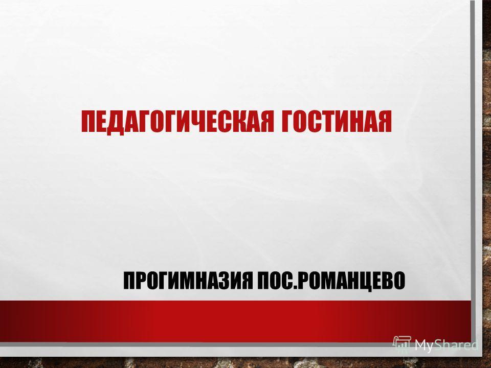 ПЕДАГОГИЧЕСКАЯ ГОСТИНАЯ ПРОГИМНАЗИЯ ПОС.РОМАНЦЕВО