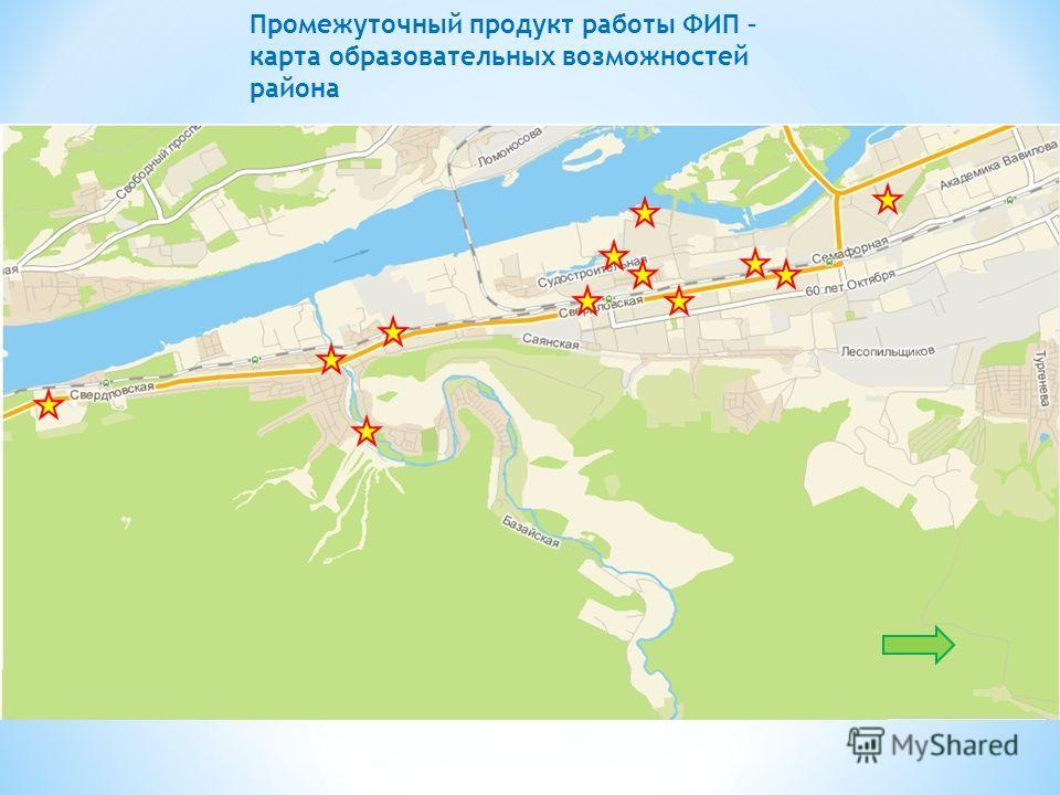 Промежуточный продукт работы ФИП – карта образовательных возможностей района