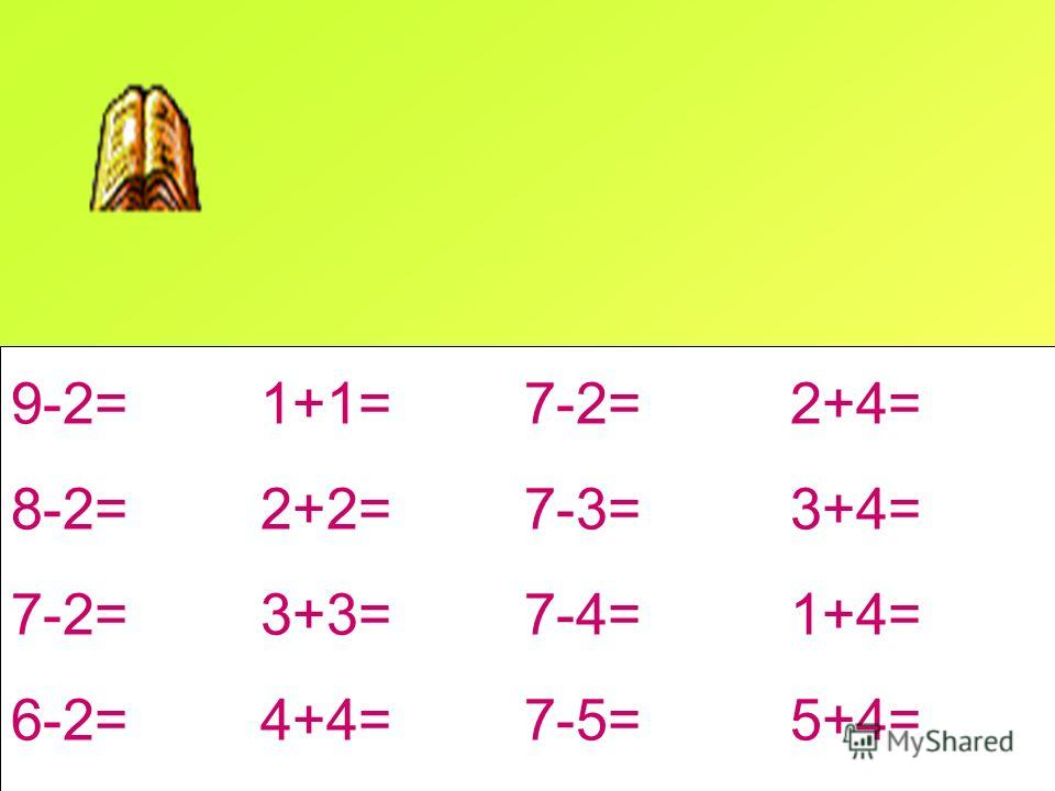 9-2= 1+1= 7-2= 2+4= 8-2= 2+2= 7-3= 3+4= 7-2= 3+3= 7-4= 1+4= 6-2= 4+4= 7-5= 5+4=