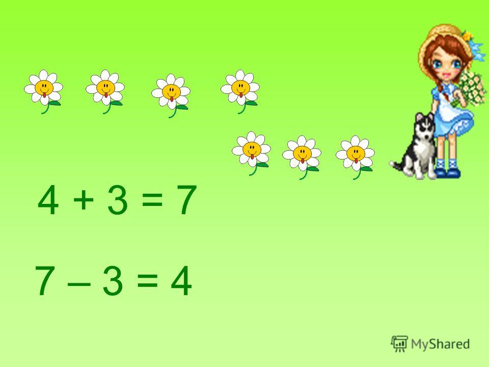 4 + 3 = 7 7 – 3 = 4