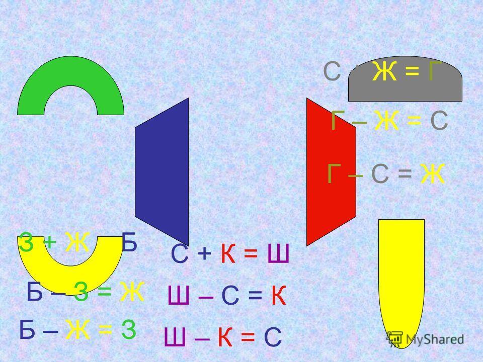 З + Ж = Б С + К = Ш С + Ж = Г Б – З = Ж Б – Ж = З Ш – С = К Ш – К = С Г – Ж = С Г – С = Ж