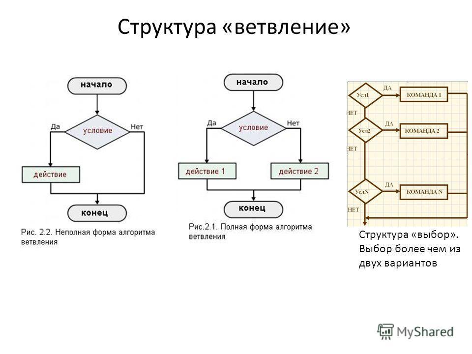 Структура «ветвление» Структура «выбор». Выбор более чем из двух вариантов