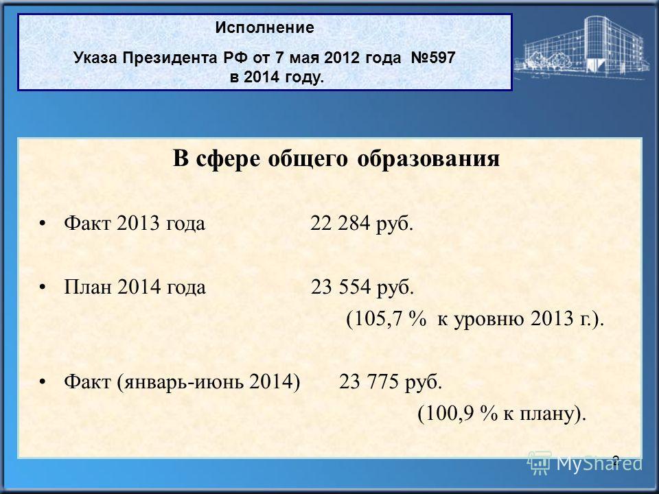 Исполнение Указа Президента РФ от 7 мая 2012 года 597 в 2014 году. В сфере общего образования Факт 2013 года 22 284 руб. План 2014 года 23 554 руб. (105,7 % к уровню 2013 г.). Факт (январь-июнь 2014) 23 775 руб. (100,9 % к плану). 2