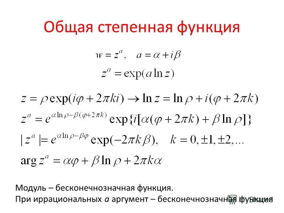 Общая степенная функция Модуль – бесконечно значная функция. При иррациональных a аргумент – бесконечно значная функция