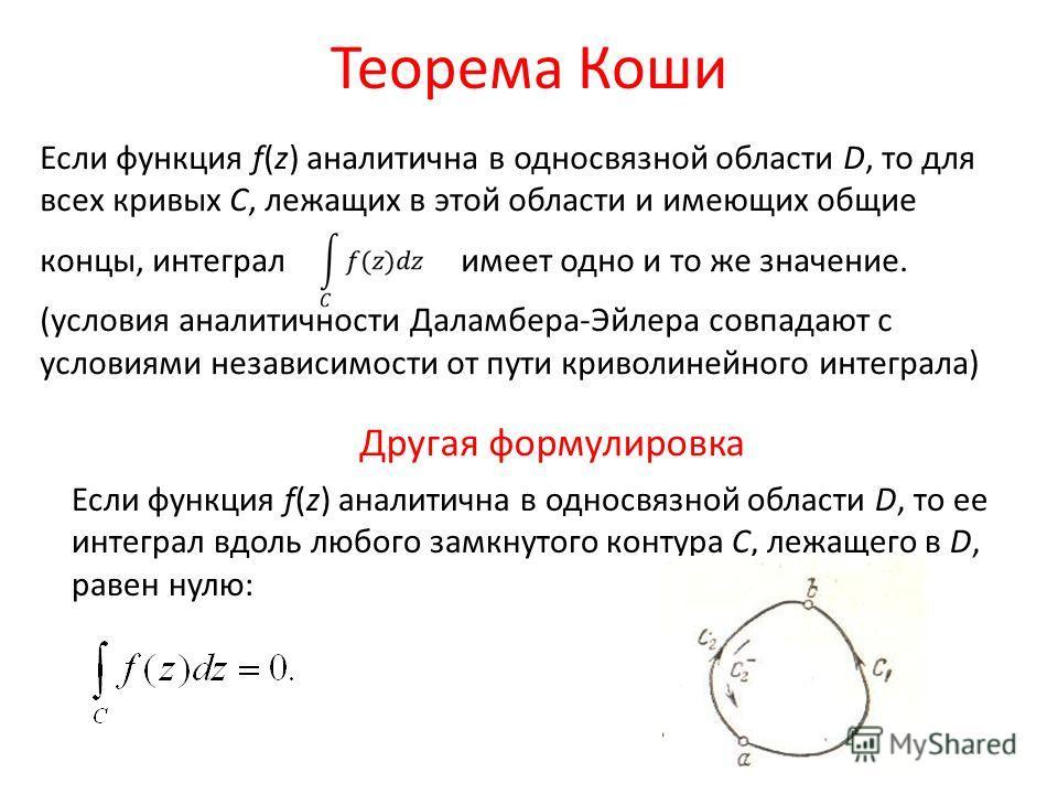 Теорема Коши Если функция f(z) аналитична в односвязной области D, то для всех кривых С, лежащих в этой области и имеющих общие концы, интеграл имеет одно и то же значение. (условия аналитичности Даламбера-Эйлера совпадают с условиями независимости о