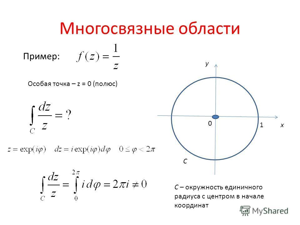 Многосвязные области Пример: x y 1 0 C Особая точка – z = 0 (полюс) C – окружность единичного радиуса с центром в начале координат