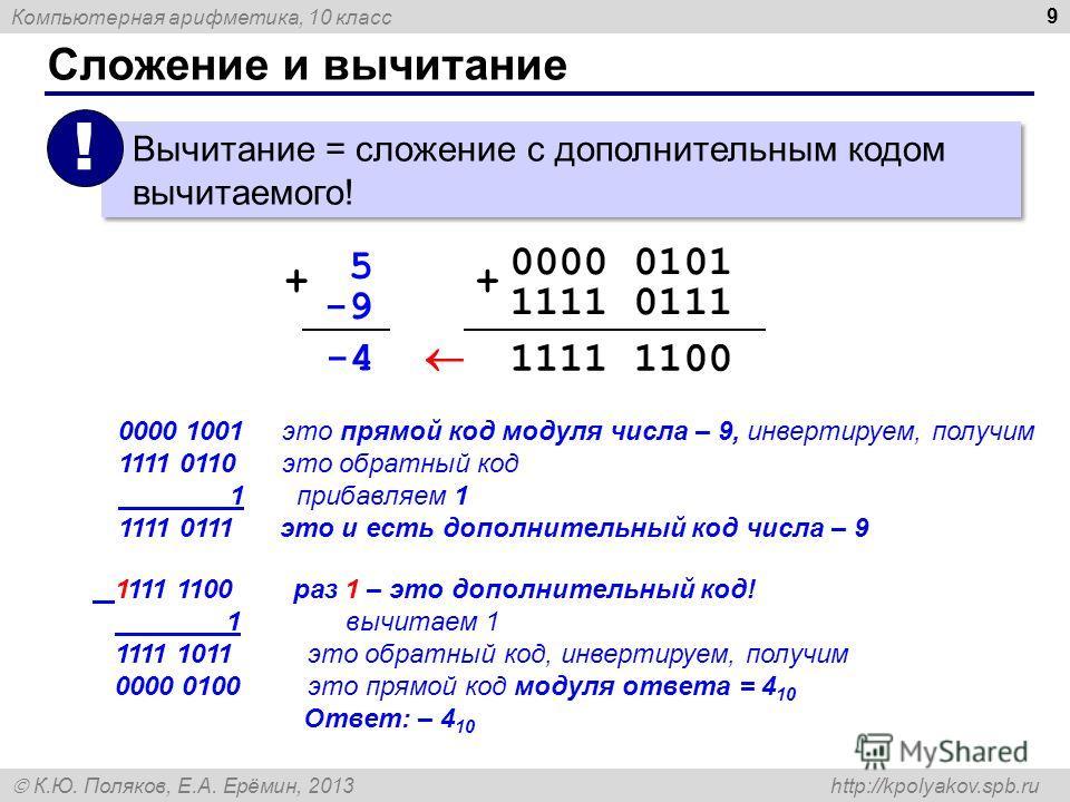 Компьютерная арифметика, 10 класс К.Ю. Поляков, Е.А. Ерёмин, 2013 http://kpolyakov.spb.ru Сложение и вычитание 9 Вычитание = сложение с дополнительным кодом вычитаемого! ! 0000 0101 1111 0111 + 1111 1100 -4 -9-9 5 + 0000 1001 это прямой код модуля чи