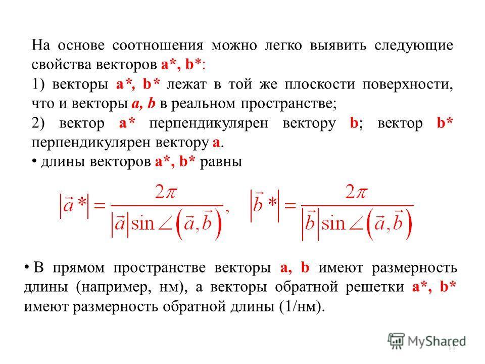 11 На основе соотношения можно легко выявить следующие свойства векторов а*, b*: 1) векторы а*, b* лежат в той же плоскости поверхности, что и векторы а, b в реальном пространстве; 2) вектор а* перпендикулярен вектору b; вектор b* перпендикулярен век